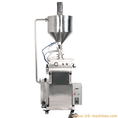 Semi automatic vertical filling machine with heating&mixing function cosmetic cream paste ointment sauces filler equipment heating filling machinery stand up type