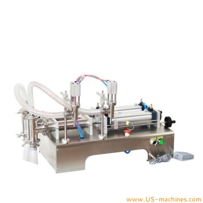 Horizontal double heads semi automatic pistion filling machine pneumatic liquid drink beverage filler dual nozzles filler for paste ketchup cream