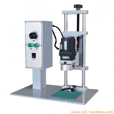 Semi automatic PET glass bottle plastic bottle can jar capping machine small twist off tabletop capper desktop chunk head capping machinery