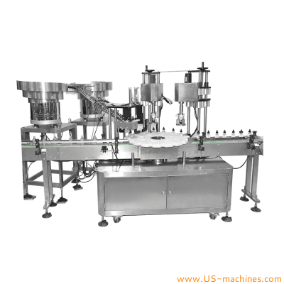 Automatic double heads plastic dropper caps screw capping machine with dropper caps sorting vibrating feeding bowl for essential oil glass bottles cosmetic vials